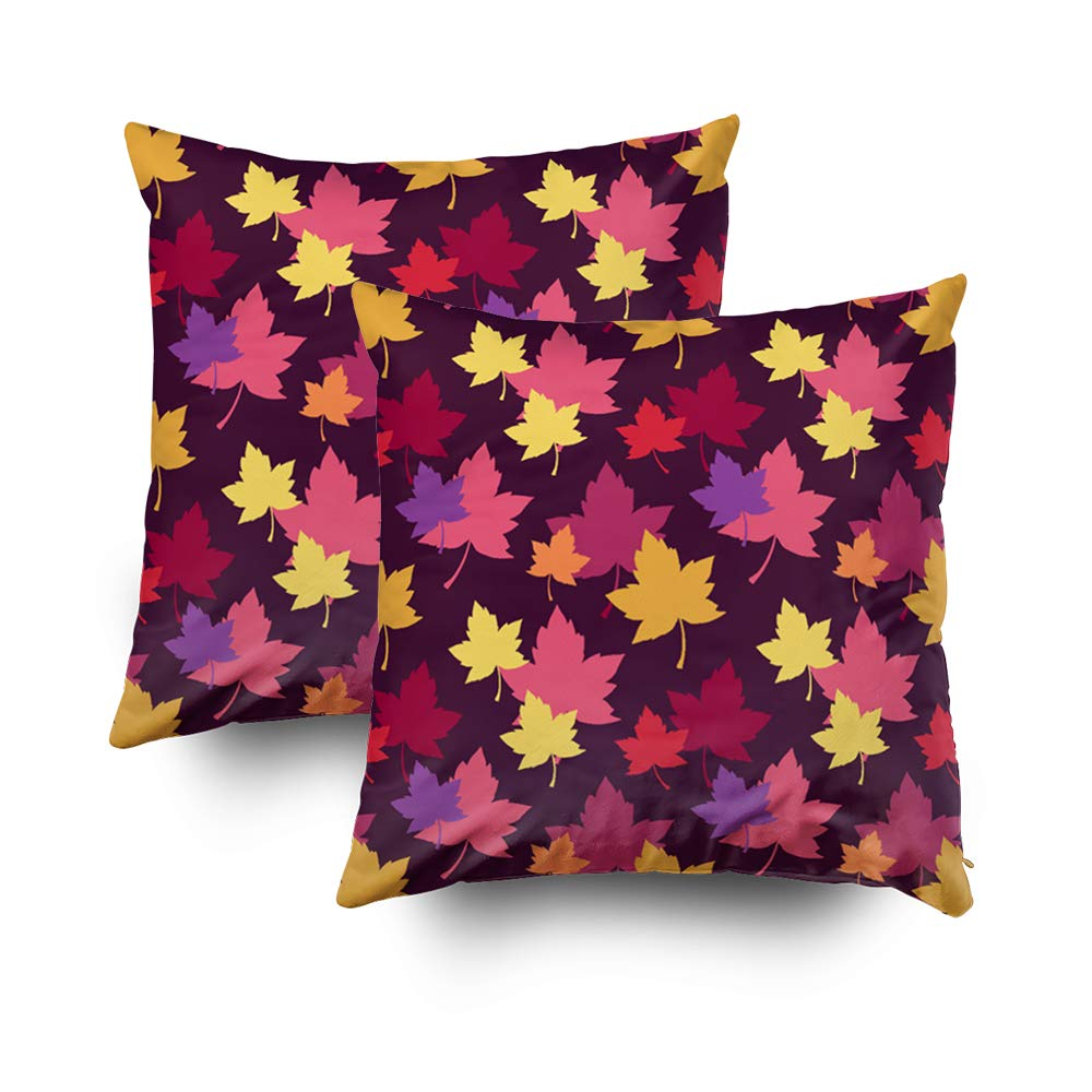 TOMWISH 2 Packs Hidden Zippered Pillowcase Autumnal Colors Fall Leaves Pattern 18X18Inch,Decorative Throw Custom Cotton Pillow Case Cushion Cover for Home