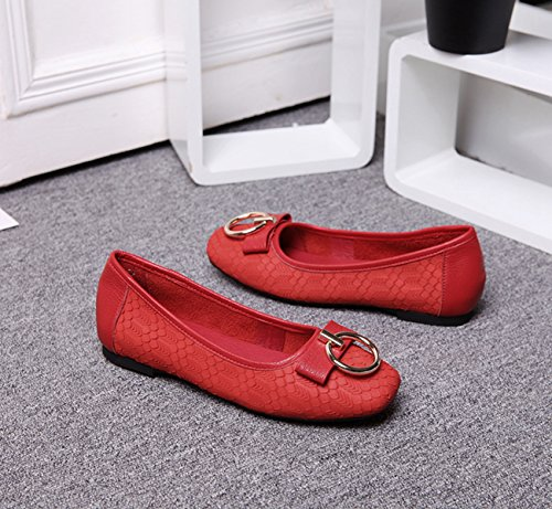 Casual Knot 0n Slip Red Walking Spring Flats Shoes Summer Leisure Leather Miyoopark AIq7xTx