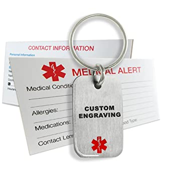 MyIDDr - Custom Engraved Medical Alert ID Tag 316L Steel Small - Red DQw2VjTO