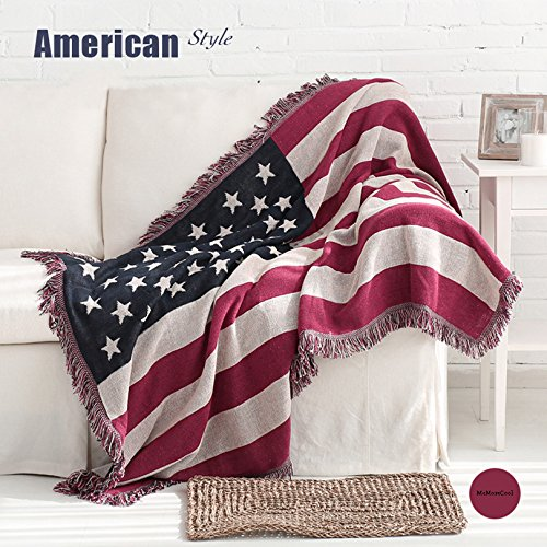 MeMoreCool American Rustic Style Jacquard Throw Couch Cover Soft Sofa Blanket,Perfect as a Bed Throw or Couch Blanket or Tablecloths,American Flag Design 51 by 67 Inches (Blanket Throw Woven Baby Jacquard)