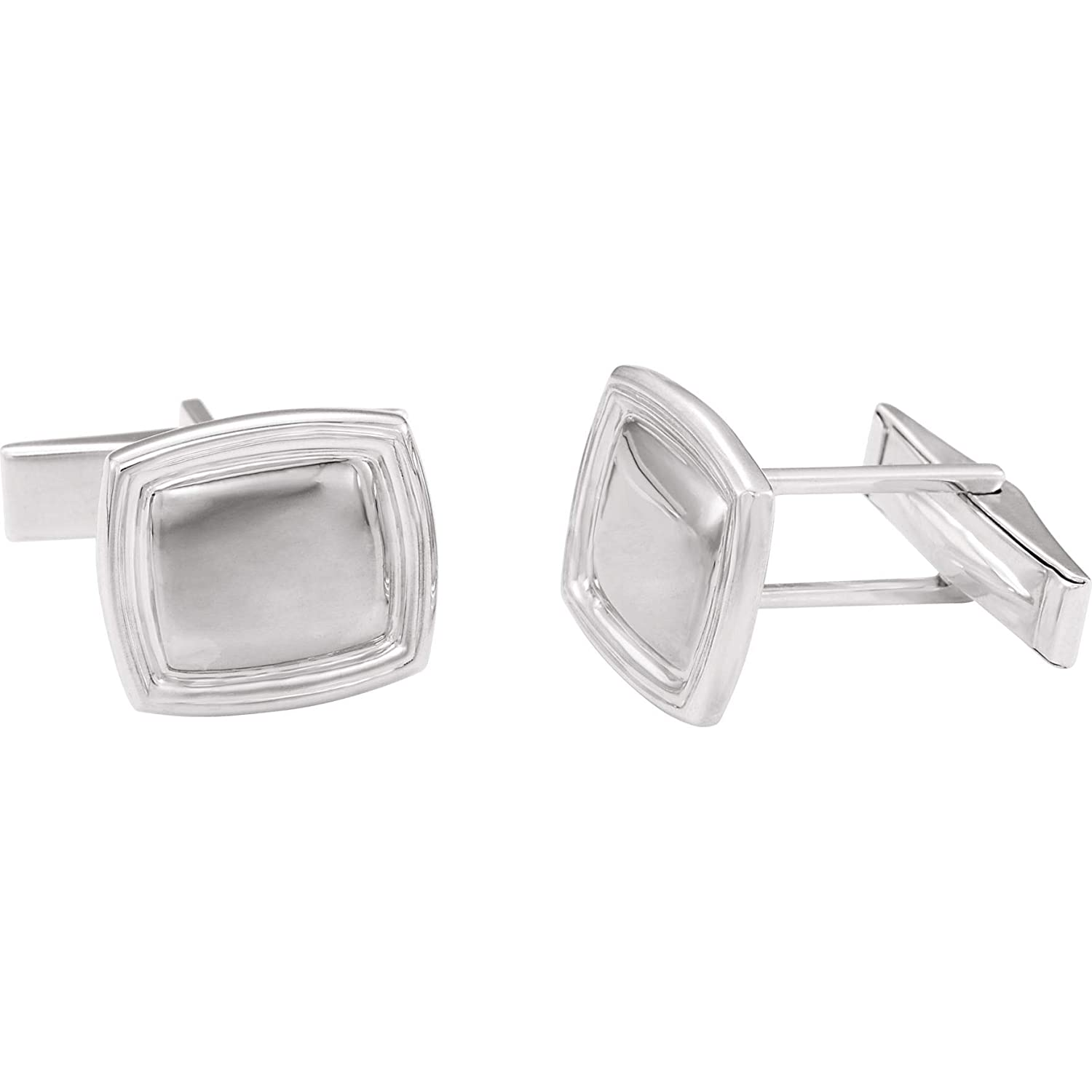 Bonyak Jewelry Sterling Silver 14x16 mm Square Cuff Links