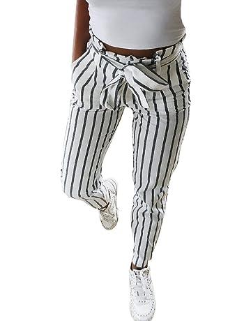 40c011f8cf Logobeing Pantalones a Rayas con Cintura Alta para Mujer Jeans Deportes  Pantalones Lápiz Slim Skinny Pantalones