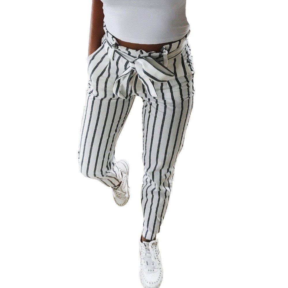 Logobeing Pantalones a Rayas con Cintura Alta para Mujer Jeans Deportes Pantalones Lá piz Slim Skinny Pantalones Delgados