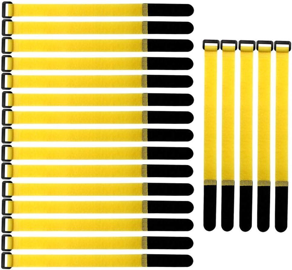 20 pcs Befestigung Klett Kabelbinder Stark Kabelbinder mit Klettverschluss f/ür Kabelmanagement 2/×30cm, Gelb Gebildet Wiederverwendbare Klettkabelbinder Klettverschluss Klettb/änder mit Schnalle