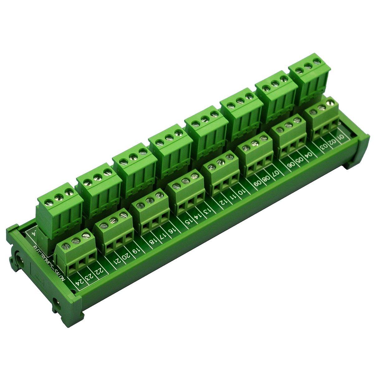 Electronics-Salon DIN Rail Mount Pluggable 8x3 Position 10A/300V Screw Terminal Block Distribution Module. (Side Wire Connects)