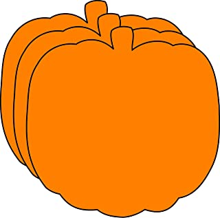 """product image for 3"""" Pumpkin Single-Color Creative Paper Cut-Outs, 31 Cut-Outs in a Pack for Fall and Thanksgiving Décor and Kids' Craft Projects for School/Classroom."""