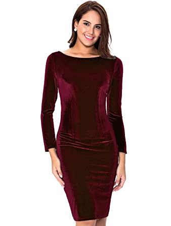 5afd6c8b0993 InsNova Women s Burgundy Long Sleeve Velvet Midi Dress for Cocktail Party