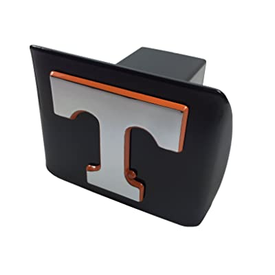 Tennessee METAL emblem (chrome with orange trim) on black METAL Hitch Cover: Automotive