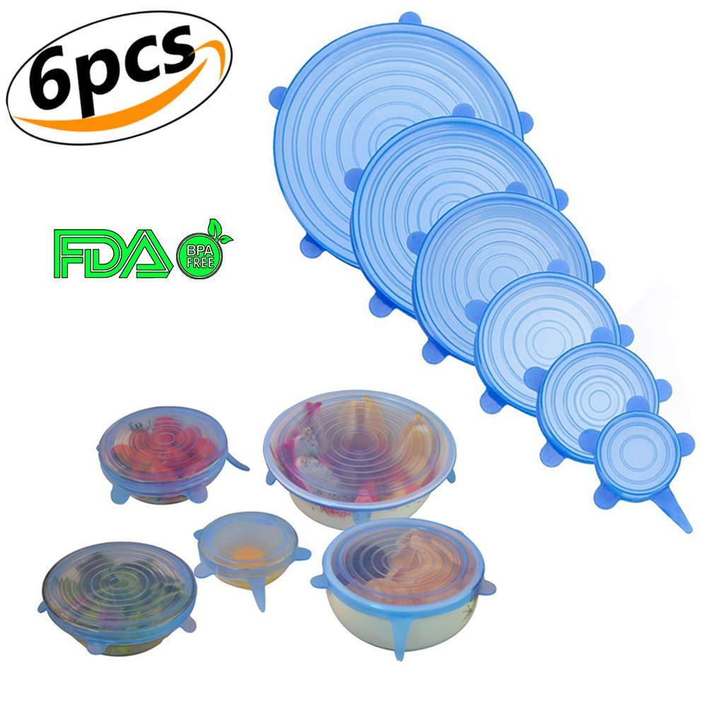 Silicone Stretch Lids Clear Reusable Stretchable Durable Food Covers Various Sizes for Cups, Bowls, Mugs, Dishes (White, 6pcs) Ronoa