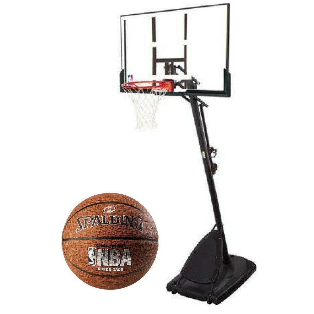 Spalding Pro Slam Portable NBA 54'' Angled Pole Backboard Basketball System with 29.5'' NBA Super Tack Basketball Bundle