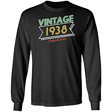 80th Birthday Vintage 1938 Mostly All Original Parts Funny Long Sleeve T Shirt