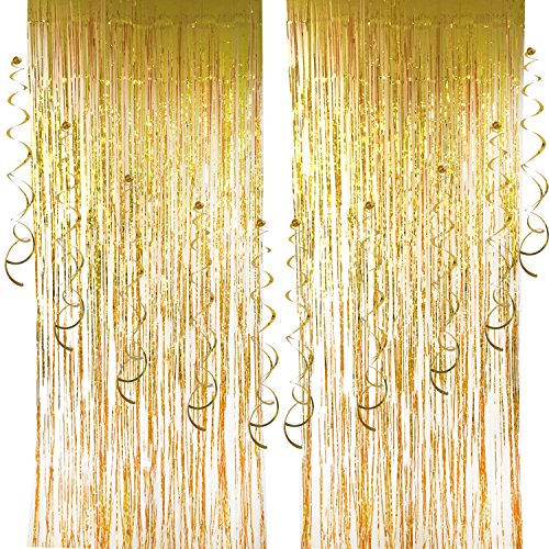 2 pcs Foil Curtains and 10 pcs Hanging Swirls, Cocodeko Metallic Fringe Curtains Shimmer Curtain Party Swirl Dizzy Danglers Decoration for Party Photo Backdrop Wedding Birthday Decor - Gold