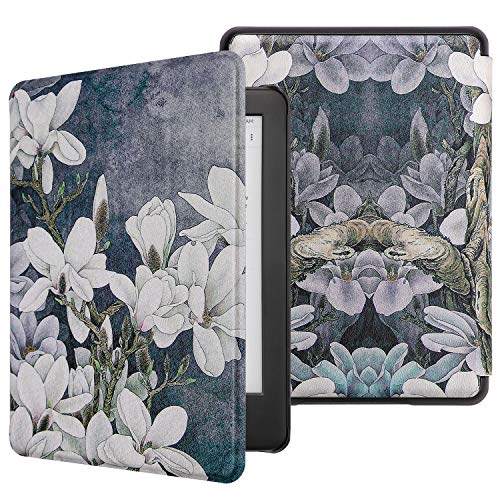 WALNEW All-new Kindle 2019 Cover Case - Slim Lightweight Auto Wake/Sleep Smart Protective Case for New Kindle 10th Generation 2019 Released,White Flowers