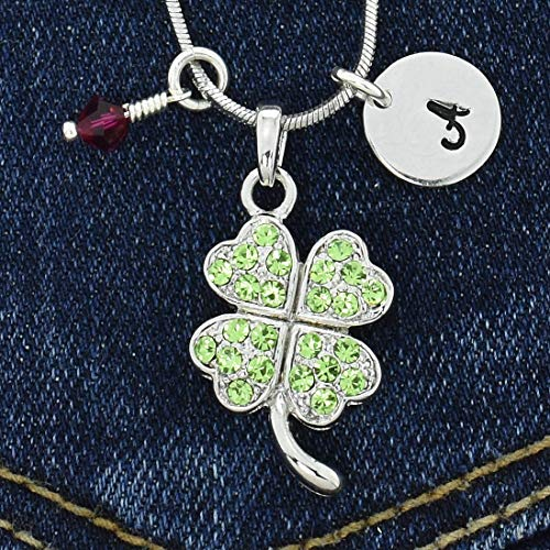 (Clover Leaf Personalized Good Luck Necklace Green Sparkling Crystals Pendant Hand Stamped Initial Letter Birthstone Charms Chain Custom Gift Jewellery )