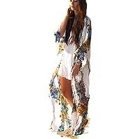 RanRui Womens Beach Blouses Loose Kimono Open Front Floral Print Cardigan Beachwear Dress …