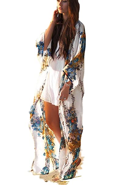 d32cfc8f13 Kimono Cardigan Womens Beach Blouses Loose Kimono Open Front Floral Print  Cardigan Beachwear Dress (209