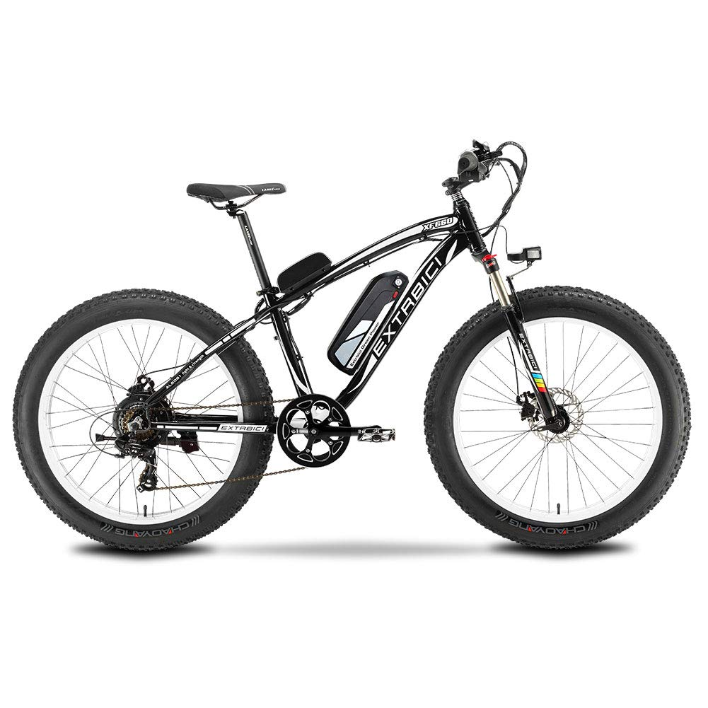 Cyrusher XF660 1000W 17×26インチ マウンテンバイク FATBIKE アルミフレーム電動マウンテンバイク 自転車シマノ21段変速 B07HNZXJMZ black black