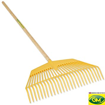 "60/"" Hardwood Shaft Durable Garden Tool GroundMaster 20-Tine Polyproylene Rake"