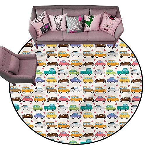 Anti-Slip Coffee Table Floor Mats Kids,Vintage Cars Little Hearts Diameter 66