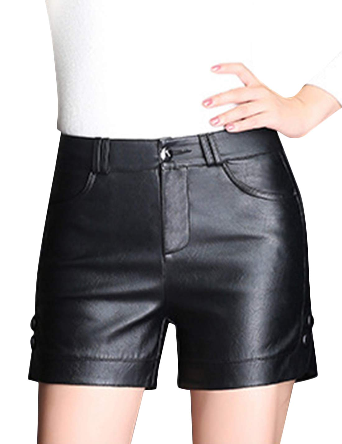 Tanming Womens Winter Casual High Waist Zip up Faux Leather Shorts with Pockets (Black, X-Small)