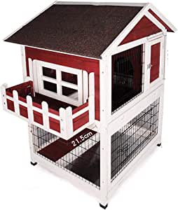 Rabbit Hutch Guinea Pig Hutch Summer Rainproof Wooden Large Chicken Cage Oil Felt Sunscreen Roof with Balcony Double Tray (Color : Red, Size : 66 * 80 * 116.5cm)