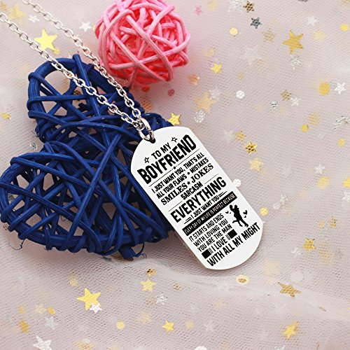 AGR8T Pendant Necklace Valentine Boyfriend Gift From Girlfriend - To My Boyfriend Everything I Just Want You by AGR8T (Image #4)
