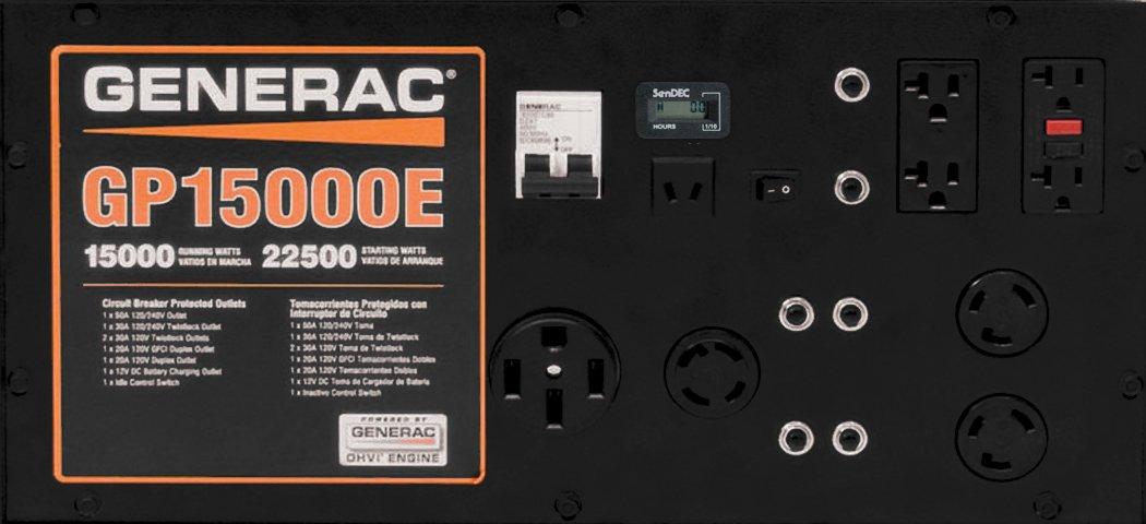 Generac 5734 GP15000E 15000 Running Watts//22500 Starting Watts Electric Start Gas Powered Portable Generator