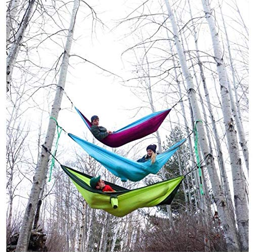 The Ultimate Single Camping Hammocks- The Best Quality Camp Gear For Backpacking Camping Survival & Travel- Portable Lightweight Parachute Nylon Ropes and Carabiners Included! (Navy & Forrest Green)