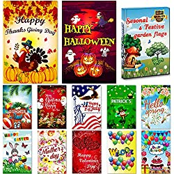 "Seasonal Garden Flag Set of 12 Pack - 12 ""x 18"" for Double-sided Outdoors Lawn Decor - Polyester Premium Assortment Holiday Yard Flags Set and Festive small Garden Flag to Bright Up Your 12 Months"
