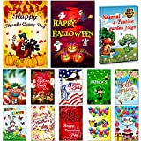 Seasonal Garden Flag Set of 12 Pack - 12 ''x 18'' for Double-sided Outdoors Lawn Decor - Polyester Premium Assortment Holiday Yard Flags Set and Festive small Garden Flag to Bright Up Your 12 Months