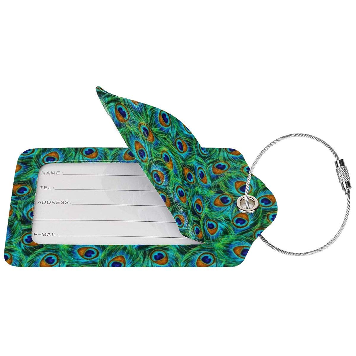 Beautiful Peacock Feathers Luggage Tag Label Travel Bag Label With Privacy Cover Luggage Tag Leather Personalized Suitcase Tag Travel Accessories