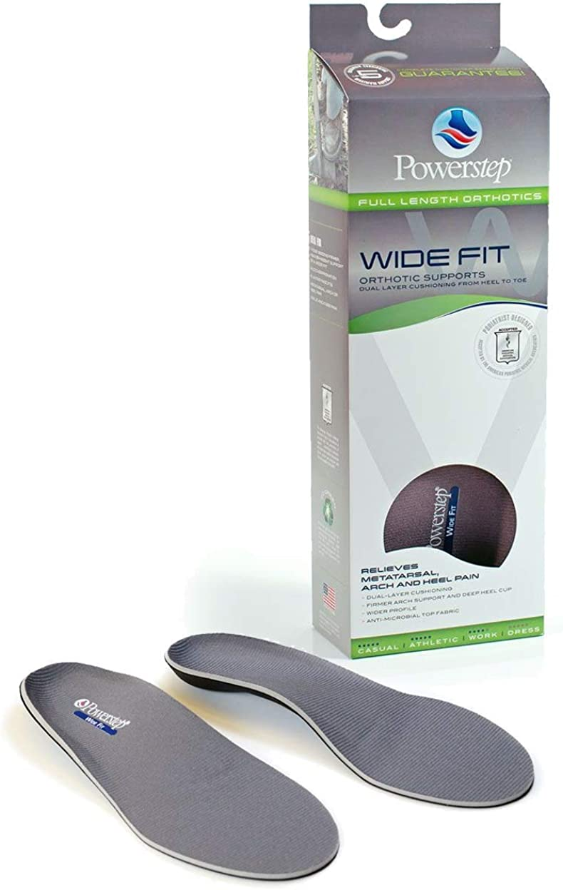 PowerStep Wide Fit Orthotic Arch Support Full Insoles ALL SIZES
