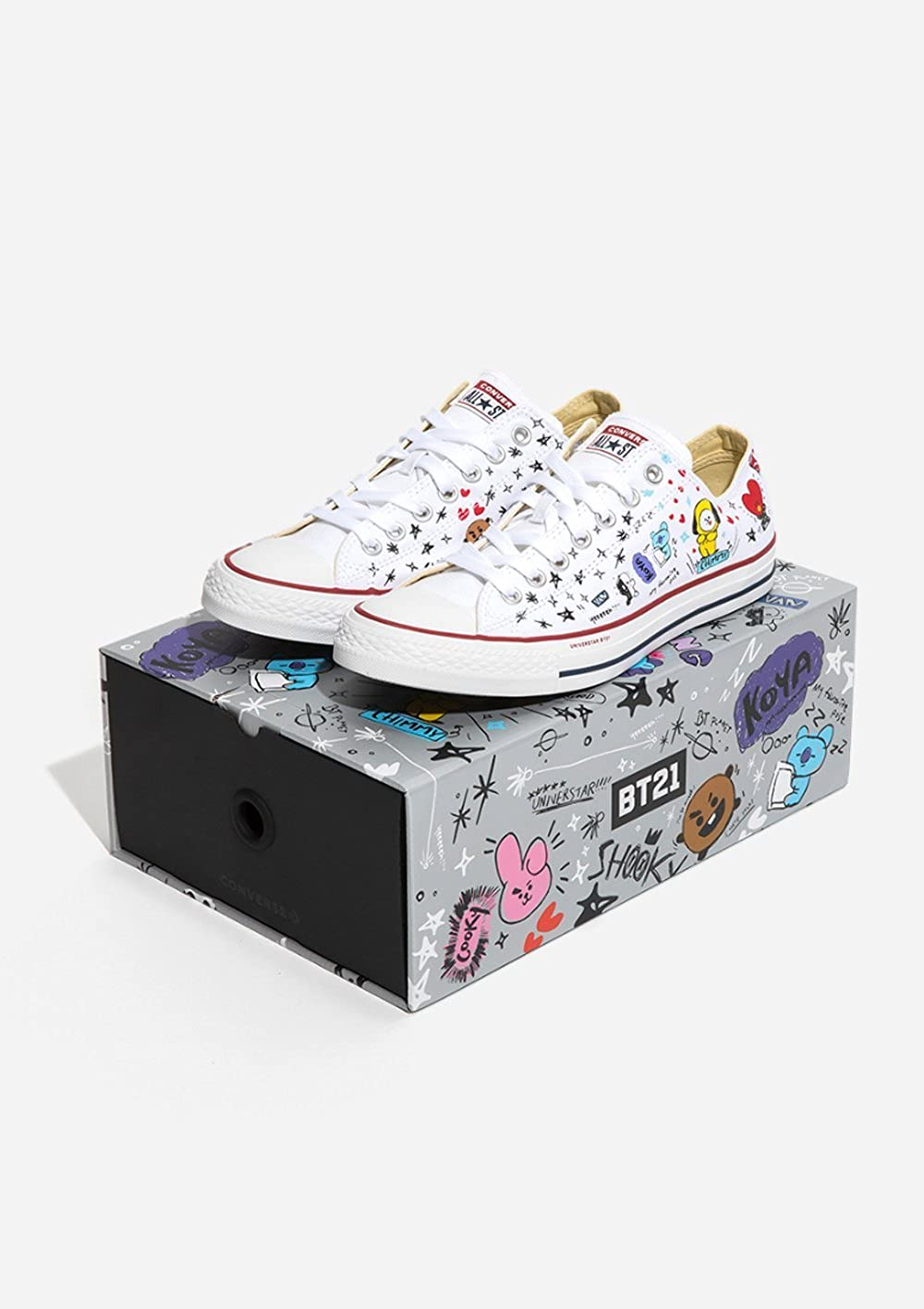 Amazon.com  BT21 x Converse Collarboration Chuck Taylor All Star Low White  (Limited)  Shoes 379b14f5a