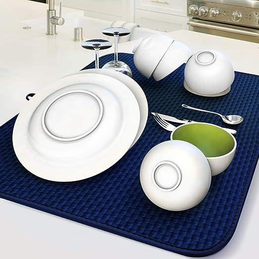 Amazon.co.jp: AKEIE 水切りマット 吸水マットキッチン スポンジ 食器 ...