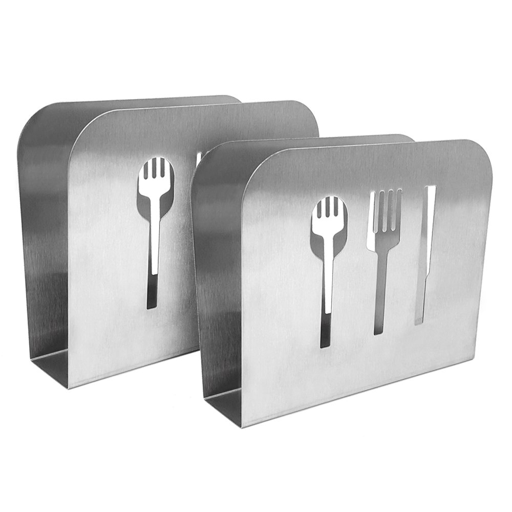 COM-FOUR 2X Napkin Holder Made of Stainless Steel, Brushed mat, Napkin Stand with Cutlery Decor, 15 x 12.5 x 5 cm (02 Stück - Besteck)