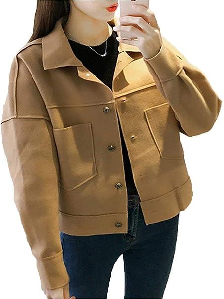 Saoye Fashion Corto Abrigos Mujer Invierno Anchos Prendas Exteriores De Solapa Manga Larga Bolsillos Delanteros Un Solo Pecho Unicolor Abrigos Ropa Estilo ...