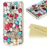 Note 5 Case,Samsung Galaxy Note 5 Case - Mavis's Diary 3D Handmade Luxury Bling Diamonds Crystal Colorful Gems Golden Love Heart Butterfly with Pearls Pendnat Design Clear Hard PC Cover