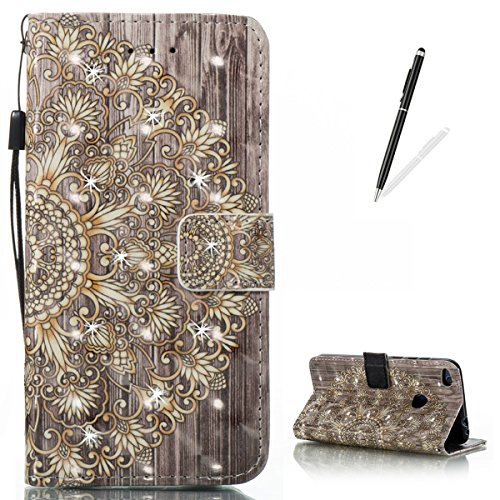 KaseHom Huawei P8 Lite (2017) Leather Case + [Free Black Stylus Pen],Golden Flower Painted Pattern Shiny Glitter Diamond Flip Magnetic Wallet Holster with [Card Slots] Protective Cover Shell