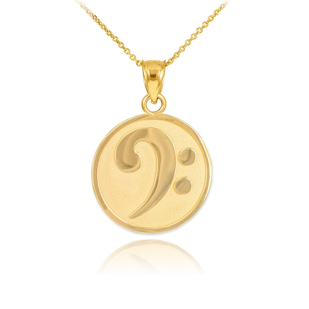 Fine 14k Yellow Gold Music Note Pendant Bass Clef Necklace, 18''