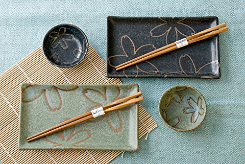 Japanese Sakura Cherry Blossoms Dual Color Rectangular Sushi Plate Bowl Chopsticks Dinner Set for Two Gift Boxed Made In Japan (Black/Green)
