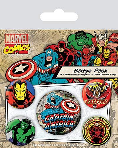 Marvel Comics Pin Badges 5-Pack Captain America Pyramid International Pins Brooches