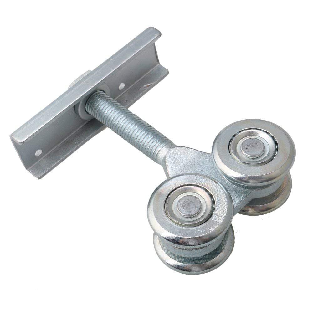 Dia 54mm Steel Double Wheel Rail Hanging Trolley Silver Sliding Track Roller Hanging Barn Door Rail Trolley Wheel H5 w/Nuts by Happynest Box Rail Hangers (Image #9)