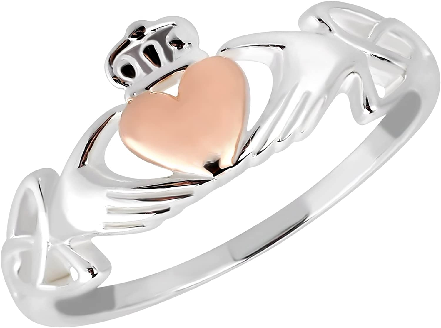 AeraVida Celtic Claddagh Love Heart Rose Gold Over Silver Ring