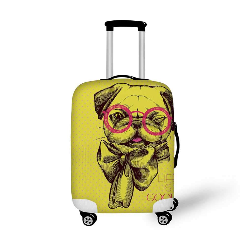 Pug Stylish Luggage Cover,Cute Photograph of a Pug with Its Little Paws Pure Bred Dog Image Animal Fun for Luggage,L 26.3W x 30.7H