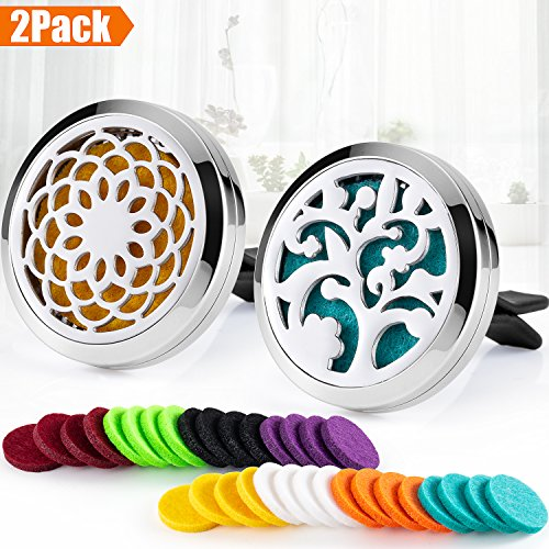 - 2PCS 30mm Car Aromatherapy Essential Oil Diffuser Stainless Steel Locket Air Freshener with Vent Clip +32pcs Refill Pads (Sunflower&Tree of Life (Silver B)