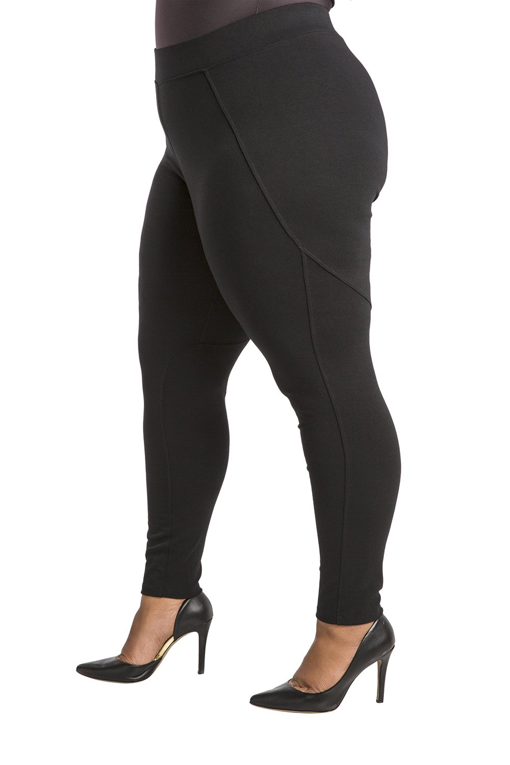 Poetic Justice Plus Size Women's Curvy Fit Black Stretch Ponte Pull On Moto Legging Size 2X by Poetic Justice (Image #2)