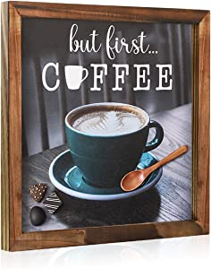 Coffee Sign Rustic Wood But First Coffee Wall Decor Retro Coffee Cup Prints Home Plaque Wall Sign for Kitchen Coffee Bar Living Room