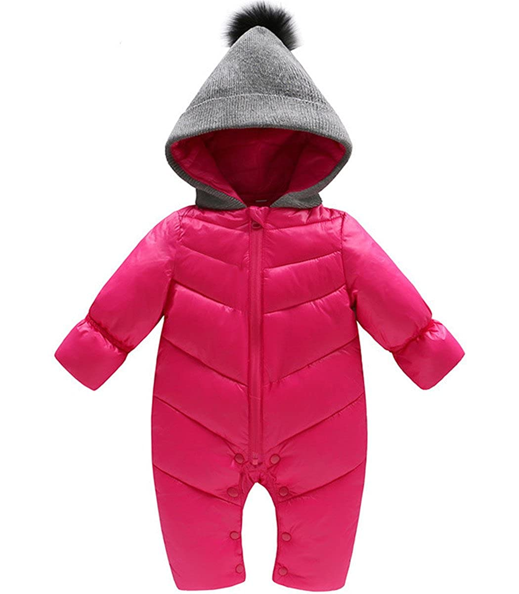 4a380b87ee1f Amazon.com  Baby Girls Boys One Piece Front Zippers Button Winter ...