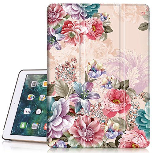 iPad 6th/5th Generation Case, Hocase PU Leather Smart Case w/Cute Flower Design, Auto Sleep Wake Feature, Microfiber Lining Hard Back Cover for iPad A1893/A1954/A1822/A1823 - Peony Flowers