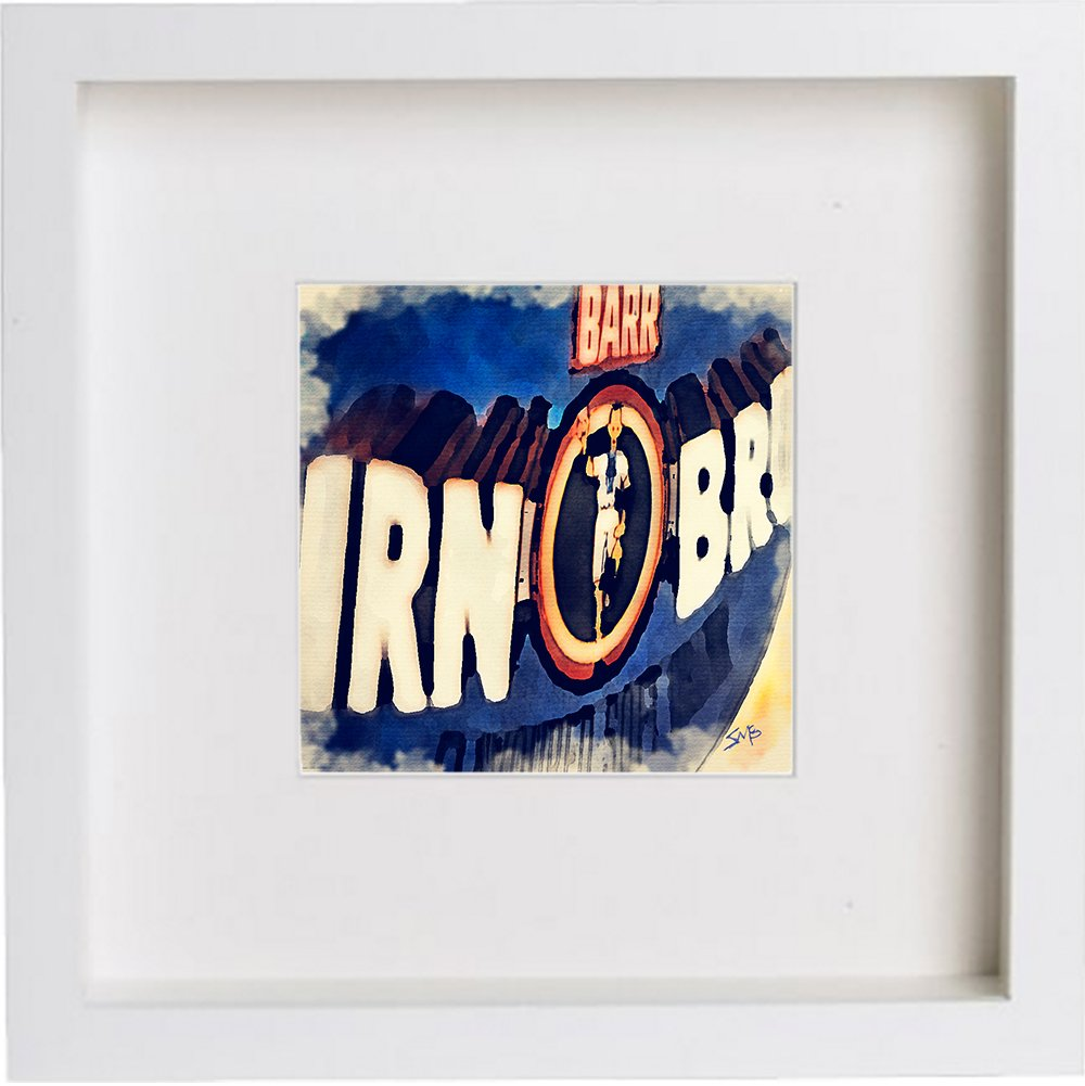 Wall Art Watercolour Print of Irn Bru Glasgow, Scotland | with Stylish Contemporary 23x23cm Frame 88 Images of Glasgow